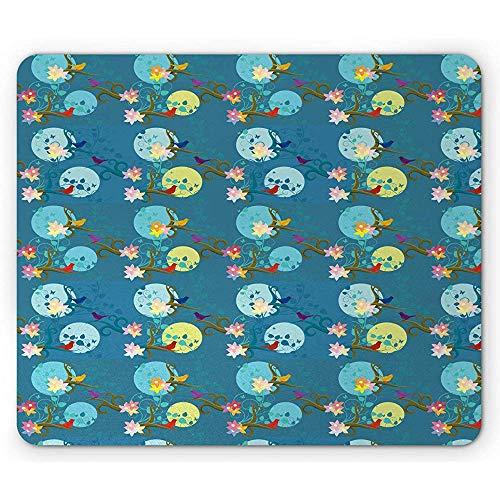 Moonflower-muismat, herhalend patroon met bonte kleine vogels op gekrulde posities, donker turquoise meerdere kleuren