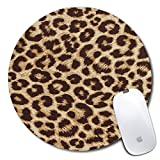 Personalized Round Mouse Pad, Printed Leopard Pattern, Non-Slip Rubber Comfortable Customized Computer Mouse Pad (7.87x7.87inch)