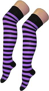 New Womens Over Knee Long Horizontal Stripe Print Ladies Thigh High Striped Patterned Overknee Socks Purple & Black by Purple Hanger