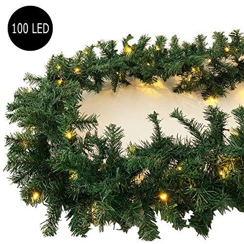 XXL Weihnachtsbeleuchtung Girlande beleuchtet Tannengirlande 100 LED Lichterkette 810 cm Weihnachten innen und außen