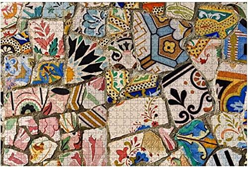 1000 piezas-Park Guell Gaudi Azulejo Rompecabezas de madera DIY Niños Rompecabezas educativos Regalo de descompresión para adultos Juegos creativos Juguetes Rompecabezas