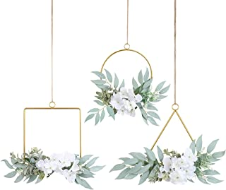 Pauwer Artificial Flower Metal Hoop Wreath Set of 3 Contemporary Willow Leaves with Hydrangea