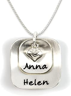 Square Lucky Two Sterling Silver Personalized Necklace Comes with 2 Customizable Charms and a Sterling Silver Heart Charm. Your Choice Of 925 Chain. Gifts for Her, Mother, Grandmother, Wife