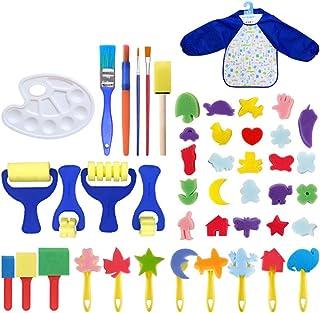 ULTNICE Kids Paint Arts and Crafts Kits Toddler DIY Learning Foam Brushes Apron Sponge Pattern Drawing Tool 46 Pcs,Random ...
