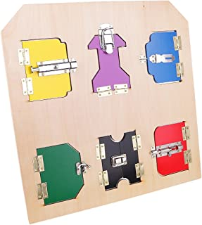 MagiDeal Montessori Beechwood Lock Board w/ Doors & Latches Boys Girls Memoy Game Toy