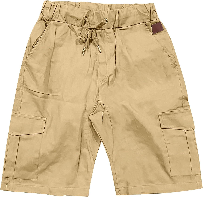 Mens Shorts Drawstring Elastic Waist Casual Outdoor Classic Fit Drawstring Summer Beach Cargo Shorts Lightweight