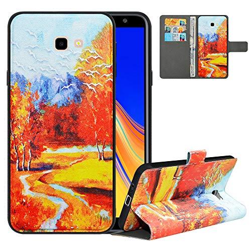 LFDZ Handyhülle für Samsung J4 Plus Hülle,Premium 2in1 PU Ledertasche für J4 Core Hülle,RFID-Blocker Flip Hülle Tasche Etui Schutzhülle für Samsung Galaxy J4 Plus/J4 Prime/J4 Core[2018],Autumn