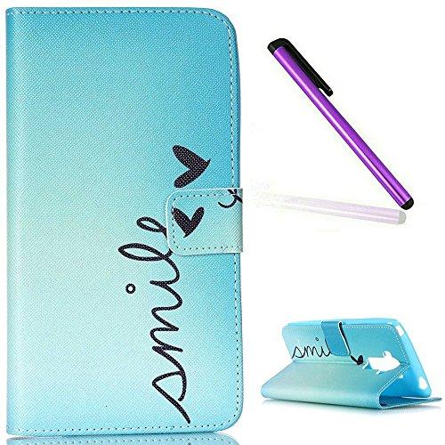 EMAXELERS LG G4 Stylus Hülle Nettes Lächeln Handtuch PU Leder Handy SchutzHülle für LG G Stylo,mit Standfunktion für LG G4 Stylus LS770,Blue Smile