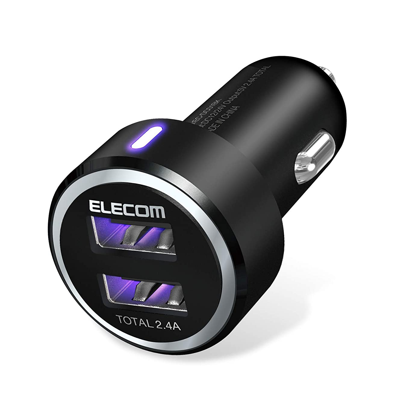 ELECOM EC-DC01BK Dual USB Car Charger (2.4A), High-Speed, Blue LED Light for iPhone & iPad & Android, Black