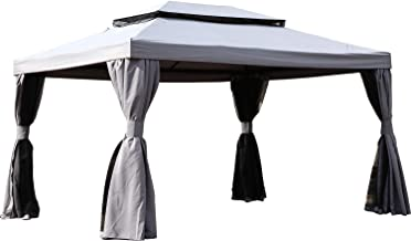 Grand patio 13.1'x 9.8' Outdoor Gazebo with Soft-Top Canopy and Shade Curtains (Gray)