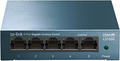 TP-Link Switch Ethernet (LS105G) Gigabit 5 ports RJ45 metallique 10/100/1000 Mbps, Idéal pour étendre le réseau câblé...