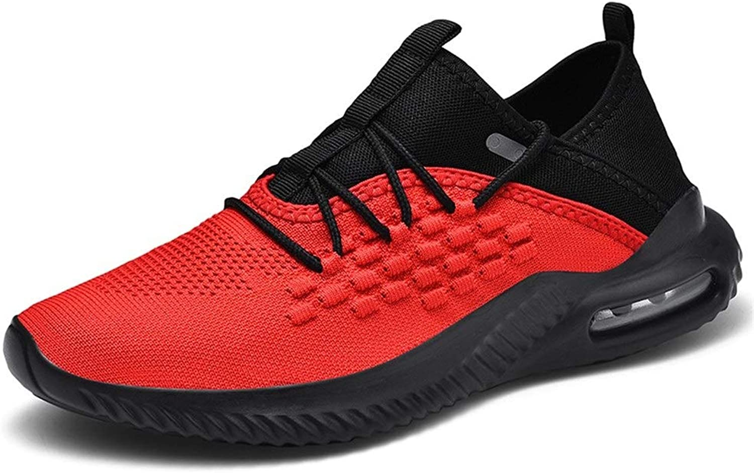 Outdoor Runing Breathable Athletic shoes Non-slip Men Sports shoes Lace Up Style Mesh Material Hollow Air Cushion Outsole Lightsome Soft Fashionable Comfortable ( color   Black Red , Size   9 UK )
