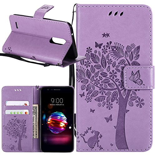 LG K30 Case, LG K10 2018 Case, LG Premier Pro Case, Lacass Cat Tree Pattern PU Leather Flip Wallet Case Cover Kickstand with Card Slots and Wrist Strap for LG K30 (X410) - Lavender