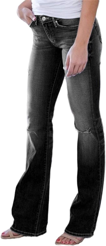 xoxing Women Jeans TIK Tok Ripped Hole Long Skinny Stretch High Waisted Straight Leg Denim Regular Pants(X)