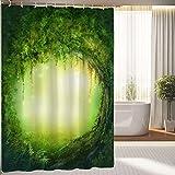 Owen Cocker Badezimmerdekoration mit Bäumen Duschvorhang, Feen-Dekor in künstlerischem Zauberwald-Duschvorhang, wasserfester Polyester-Stoff