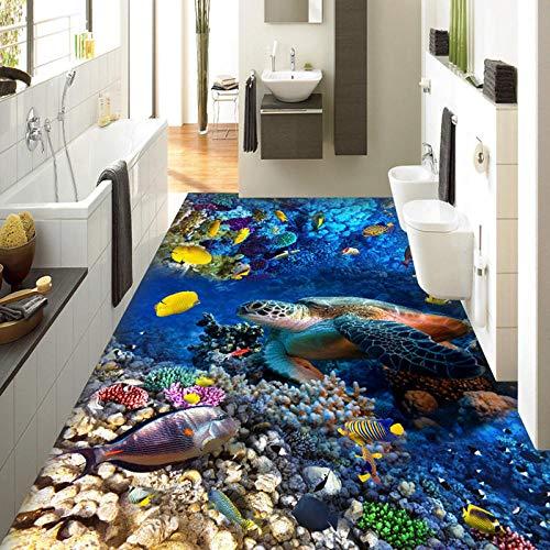 Papel de pared fotográfico personalizado Tortugas 3D Peces tropicales Coral Pinturas de azulejos de piso 3D Pinturas de pared Dormitorio de niños Sala de estar Fondos de vinilo 450x300cm