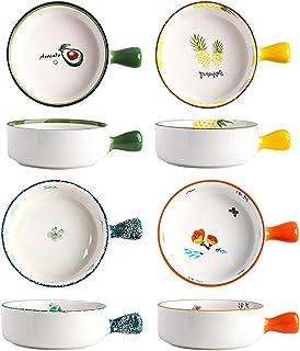 Soup Bowls حساء الغصيل مع مقابض، 20 أوقية للشوربة، الفلفل الحار، لحم البقر، مجموعة من 4، أدوات مائدة المطبخ السيراميك Cere...