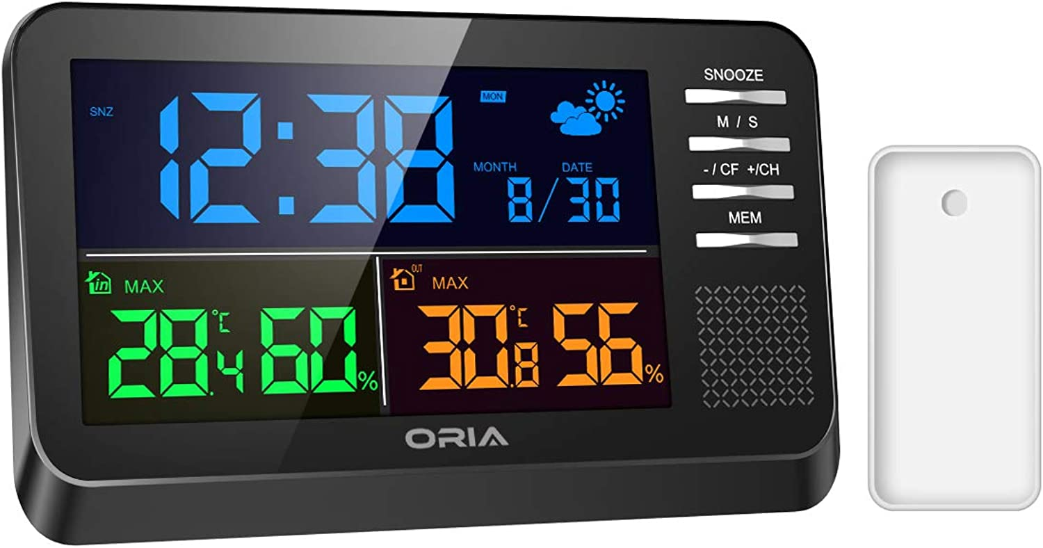 ORIA Wireless Weather Station, Digital color Forecast Station, Alarm Clock with Temperature and Humidity Monitor, Wireless Sensor for Indoor & Outdoor