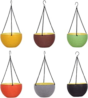 AASHU Self Watering planters Pot for Indoor Plants,planters Pot Hanging with Chain (8.5 inch,Multi Color)-Assorted- Pack of 2