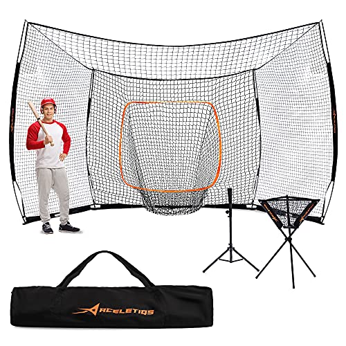 ACELETIQS Baseball Net Backstop Batting Cage Softball Pitching Bundle 17x10 Feet | Portable Easy to Transport | Easy Assembly No...