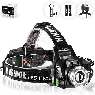 Hiliyot LEDヘッドライト USB充電式 センサー点灯 CREE T6 ヘッド懐中電灯 ヘルメットホルダー付き 超高輝度 生活防水 90角度調整 電池付属 釣り 登山 アウトドア 防災 作業灯