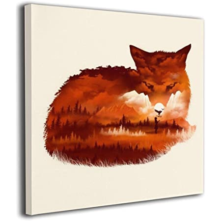 Amazon Com Martoo Art Fox Painted Framed Pictures Printed On Canvas Wall For Office Home Decor Paintings Modern Artwork Decorations Ready To Hang 12 X12 Posters Prints