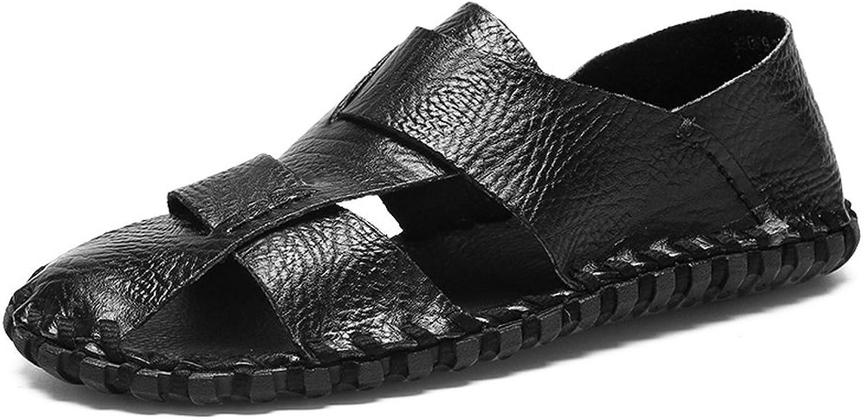 män s Sandaler, Mann's Mann's Mann's Genuine läder strand Slippers Casual Handwork non -Slip Soft Flat Closed Toe Sandals skor.(Färg  svart, storlek  8.5MUS)  otroliga rabatter