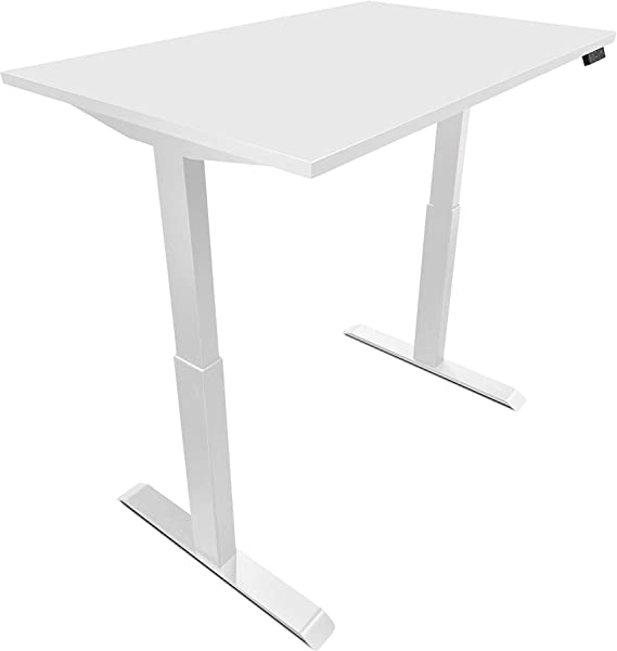 EasyErgo Rise Light 48 X30 Powerful Dual Motor Adjustable Standing Desk Table With USB Controller Suitable For Computer Craft Study Office Home Workstation White Top On White Base
