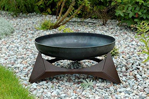 SvenskaV Design-Feuerschale ARKA, Lagerfeuer mit kupferfarbig pulverbeschichtetem Unterbau, Größe XXL, Maße: Ø 63 cm x Höhe 30,6 cm