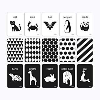 PicoHemmo Flash Cards Black and White for Infants, 15 Cards Animal Letter Visual 4''x6'' /10cm x 15cm Designed for 0–6 Months Kids Babies with High Contrast