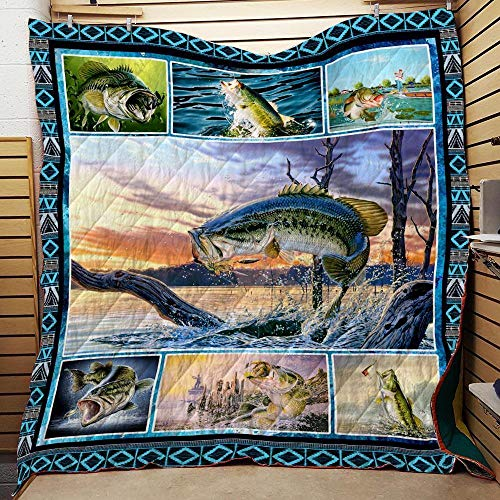 Bass Fishing Washable Quilt | All-Season Quilts Comforters with Reversible Cotton King/Queen/Twin Size | Best Decorative Unique Banklet for Traveling Picnic, Beach Trip, Concert, Home and Gift