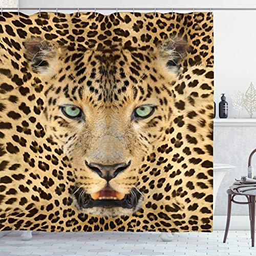ABAKUHAUS Leopard Duschvorhang, African Predator Tier, mit 12 Ringe Set Wasserdicht Stielvoll Modern Farbfest & Schimmel Resistent, 175x240 cm, Braun & Hellbraun