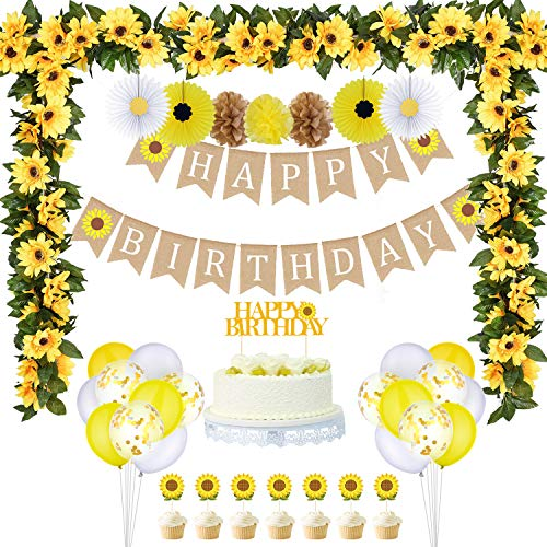 33 Pieces Sunflower Party Supplies, Sunflower Happy Birthday Banner, Big Cake Topper, Yellow Sunflower Cupcake Topper, Sunflower Garland, Tissue Paper Fans, Paper Pom Poms, Colorful Balloon for Party