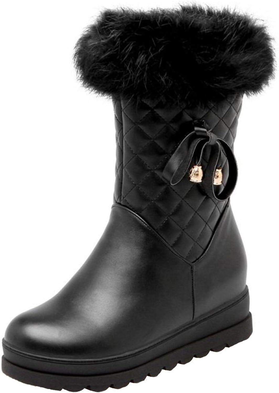 TAOFFEN Women Winter Outdoor Zipper Snow Boots Synthetic Fur Hlaf Boots