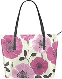 MASSIKOA Pink Purple Flower Double Print Tote Shoulder bag Womens Handbag PU Leather Purse