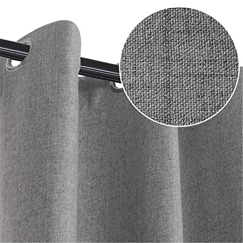 Rose Home Fashion 100% Blackout Curtain Set with Eyelet, 2 Panels Thermal Insulated Linen Look Blackout Curtains for Bedroom Livingroom, 46' x 90'(W x L), Darkgrey