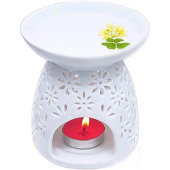 Fourseasons Brucia essenze per aromaterapia, ideale come diffusore per essenziali, in ceramica, con spazio per lumino, colore: bianco
