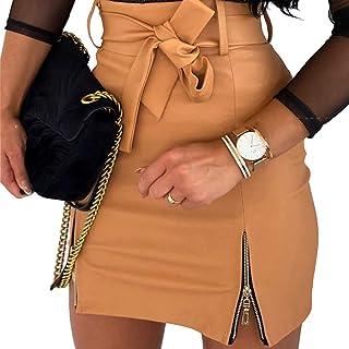 Vanornia Minigonna Donna in Pelle Sintetica Gonna Slim Aderente a Vita Alta con Zipper Casual Sexy Elegante