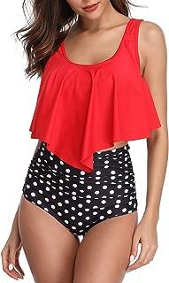 Swimsuit for Women Two Piece Bathing Suit Ruffled Top High Waisted Bottom Bikini Tankini Set