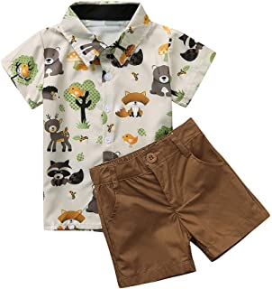 New!!👍 Toddler Baby Boys Cartoon Animals Print T-Shirt Tops+Casual Shorts Set MS-SM Infant Kids Fashion Gentleman Turn-down Collar Outfits 2PCs for 6M-4Y