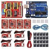 KeeYees Profesional Impresora 3D CNC Kit con E-Tutorial, CNC Shield V3 con Jumper Caps, A4988 Controlador de motor paso a paso, Cable de alimentación DC, Mechanical Switch Endstop