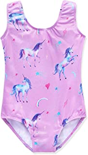 Gymnastic Leotards for Girls Dance Wear Sparkle Unicorn Rainbow Fancy Mermaid Pink Purple Clouds