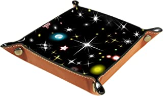 Plateau à bijoux Étoiles et lune clignotant Plateau de rangement pour bijoux en cuir Petite boîte de rangement Organisateu...