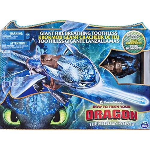 Dragons, Sdentato Sputafuoco, drago di 51 cm con effetti sputafuoco e decorazioni bioluminescenti, per bambini dai 4 anni