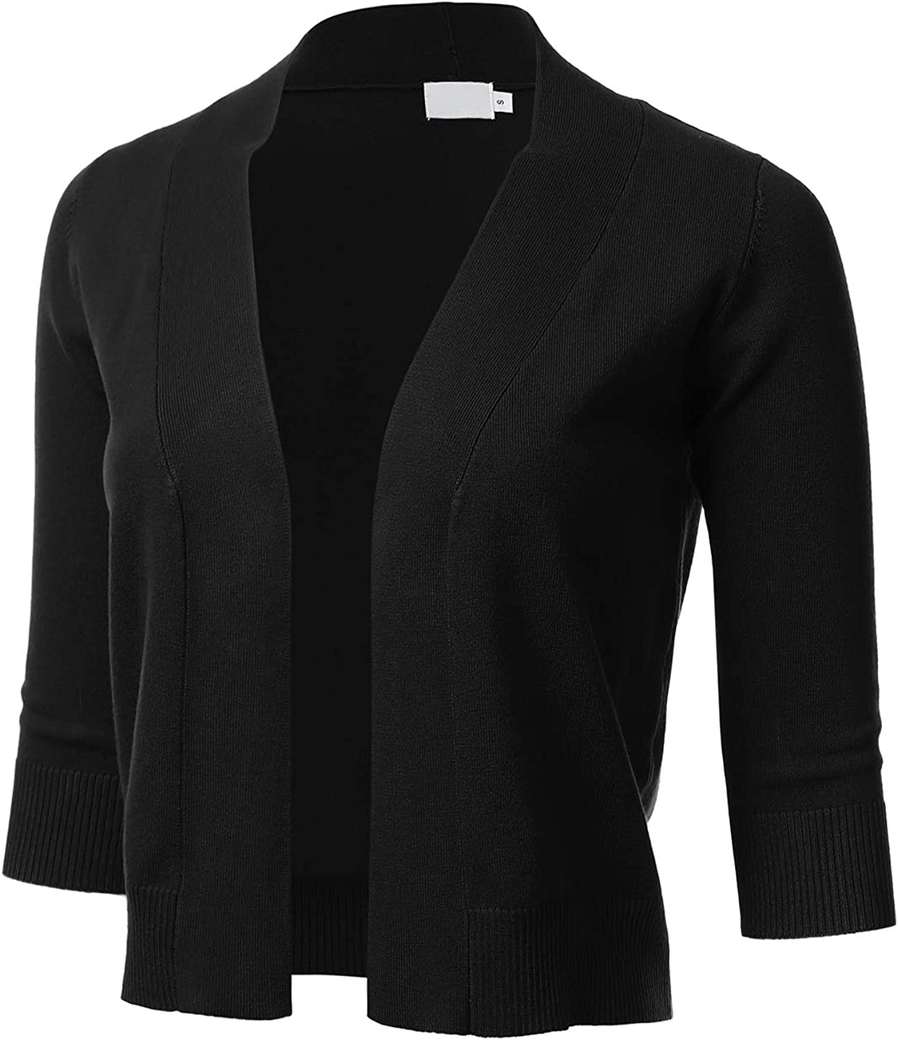 Women's Classic 3/4 Sleeve Open Front Cropped Cardigan (S-3XL)