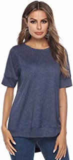 JINIU Women's Summer T-Shirt, Round Neck Top Solid Color Short Sleeve Loose Comfort Simple Design Ladies Clothing