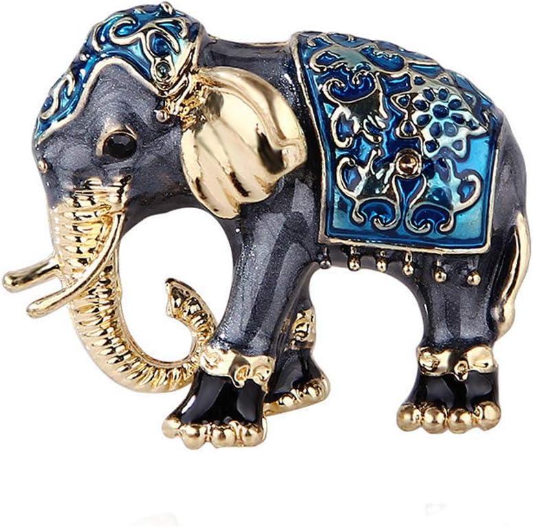 DONGMING Enamel Elephant Brooch Rhinestone Crystal Animal Brooch Pin for Women Jewelry Fashion Suit Accessories,Blue,3.1x2.5cm