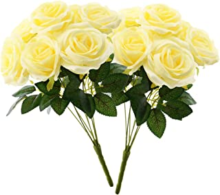 Aviviho Artificial Flowers Pale Yellow Roses with Stems Pack of 2 Fake Silk Roses Bouquets for Wedding Bouquets Centerpieces Arrangements Home Decoration