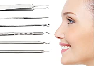 Blackhead Remover Tool Kit Set 6 PCS Professional Surgical Stainless Steel Extractors for Facial and Body Blemishes