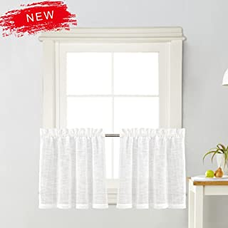 Zceconce White Linen Semi-Sheer Tier Curtains Privacy Textured for Kitchen 24 Inch Long for Kitchen Hotel Dining Room Total Size 72 Inch Wide (36